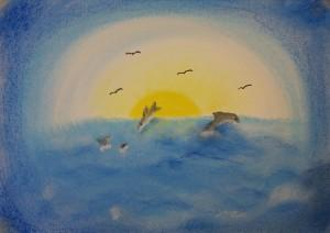 zeezicht met dolfijnen, pastel